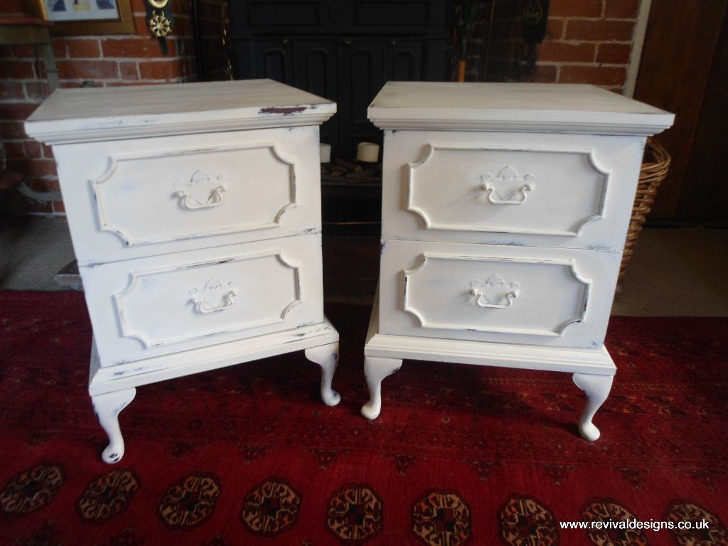 Pair Of Matching Cream Bedside Tables Revival Designs