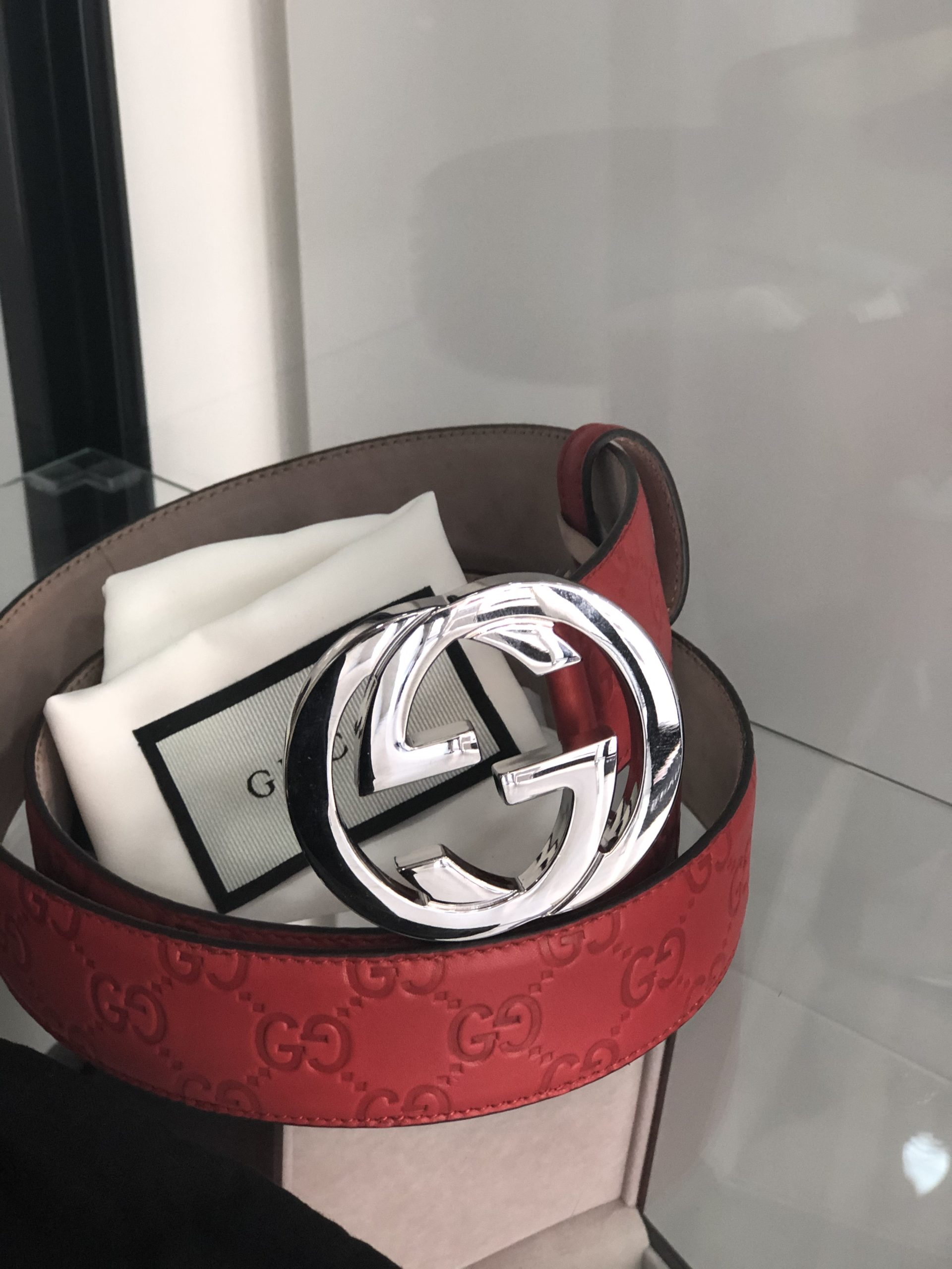 Gucci cintura Interlocking pelle Rossa