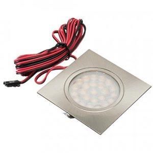 Nábytkové, štvorcové svietidlo PROS, zapustené 1.8W, 180lm, nikel, teplá biela