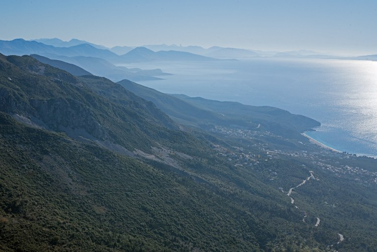 Looking south along the 'Albanian Riviera', from the Llogara Pass.