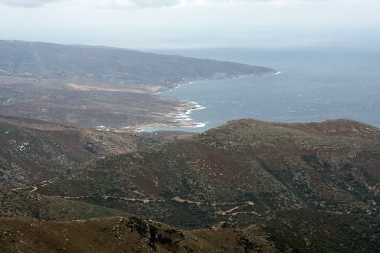 The north-east-facing coast of Andros, viewed from nearly the highest point on the island.