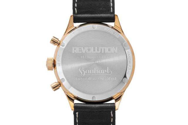 Caseback of the Hanhart x The Rake & Revolution Limited Edition Bronze 417 Chronograph (©Revolution)