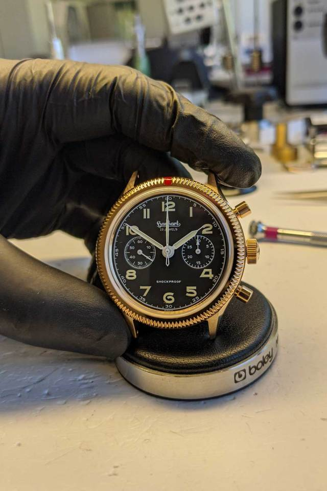 Hand assembled at Hanhart's workshops, The Rake & Revolution Limited Edition Bronze 417 Chronograph seen here cased in its quick-patinating bronze CuSn8 case (Image: Hanhart.com)
