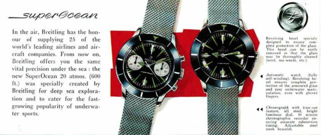 Vintage advertisements for the first Breitling SuperOcean watches (Image: BreitlingLounge)