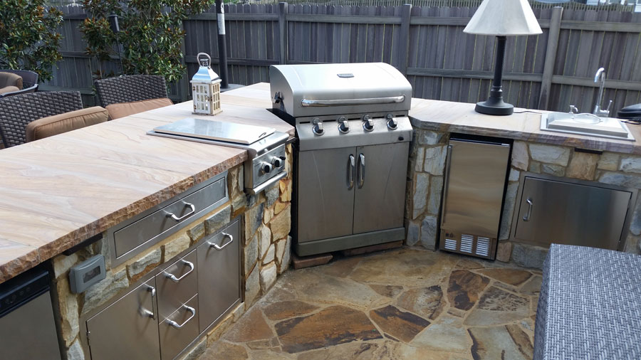 grill for outdoor kitchen pre made cabinets can i use my freestanding as a built in revolutionary haymarket va