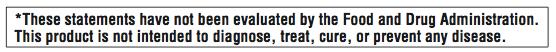 Revolution Health & Wellness Nutritional Supplements FDA Statement