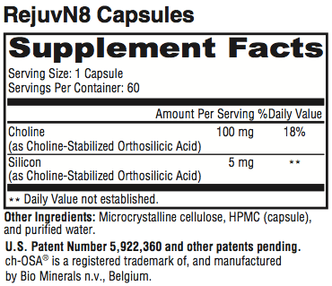 RejuvN8 Supplement Facts