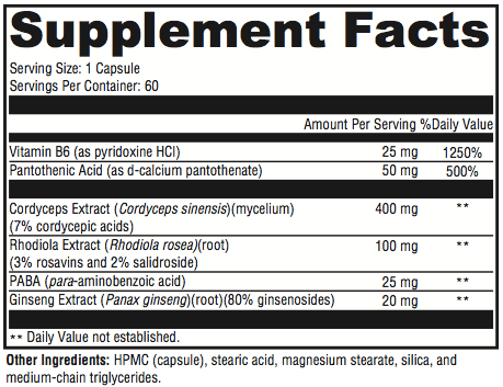 Adrenal Support Supplement Facts