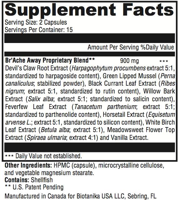 Br'Ache Away Supplement Facts