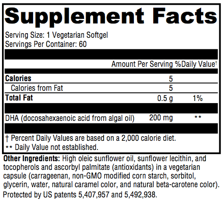 DHA Supplement Facts; Revolution Supplement