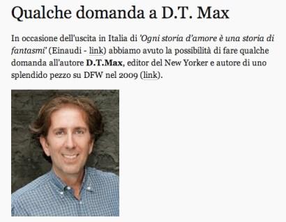 Archivio DFW Italia qualche domanda a D.T.Max su David Foster Wallace