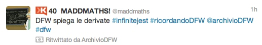 MaddMaths, David Foster Wallace, Infinite Jest