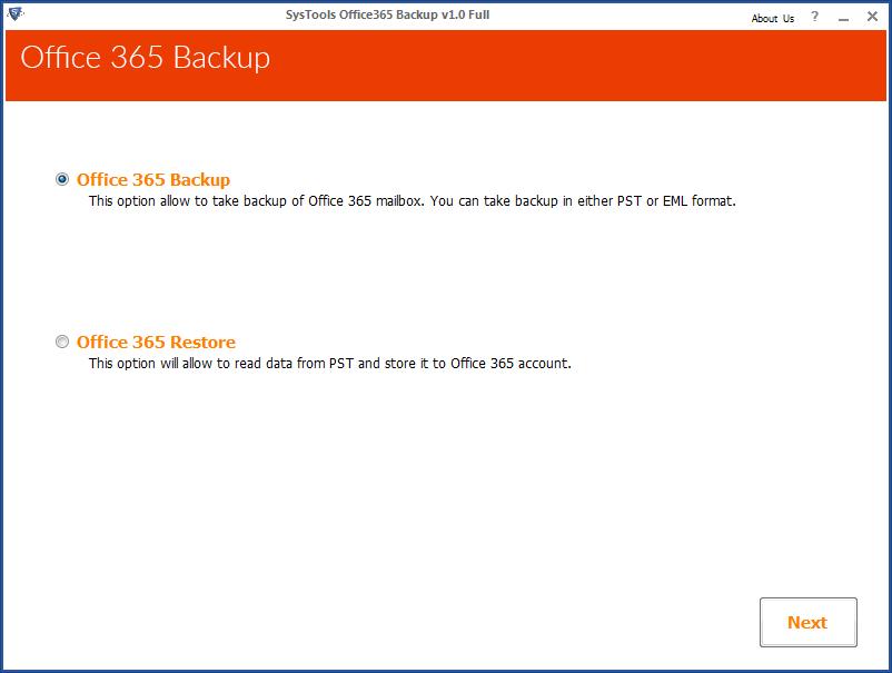 click on Office 365 Backup option