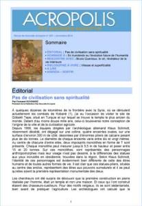 Première de couverture de la Revue Acropolis n°257