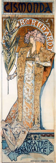 L'actrice Sarah Bernhardt sollicite Mucha pour la réalisation d'une affiche publicitaire de Gismonda, pièce qu'elle devait jouer au Théâtre de la Renaissance