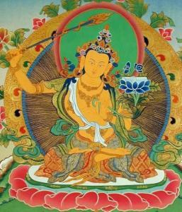 Chez les Tibétains, le symbole du Feu (mental) est représenté par une épée enflammée que porte Manjushri (4) dieu de la Sagesse.