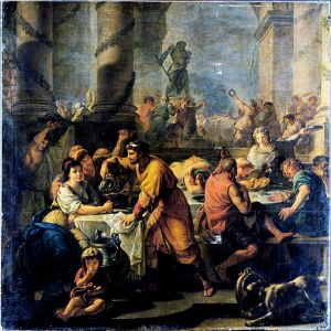 Pendant les Fêtes Saturnales, on organisait des banquets et on s'invitait les uns chez les autres.