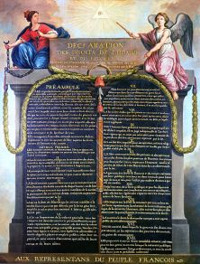 Les valeurs du Verseau, liberté, égalité, fraternité, ont été exprimées par la France à la Révolution française, à travers la Déclaration des droits de l'homme.