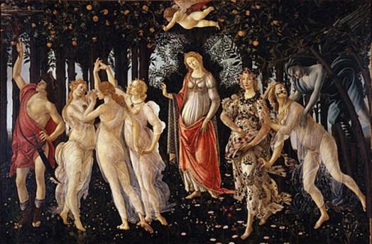 """Les vertus sont assimilées au Printemps, que l'on retrouver dans """"le Printemps"""" de Botticelli"""