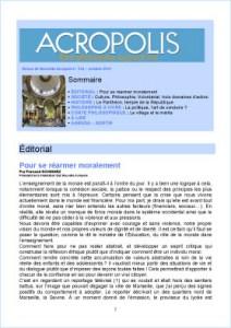 Première de couverture de la Revue Acropolis n°234