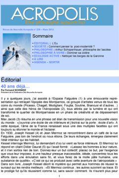 Première de couverture de la Revue Acropolis n°239