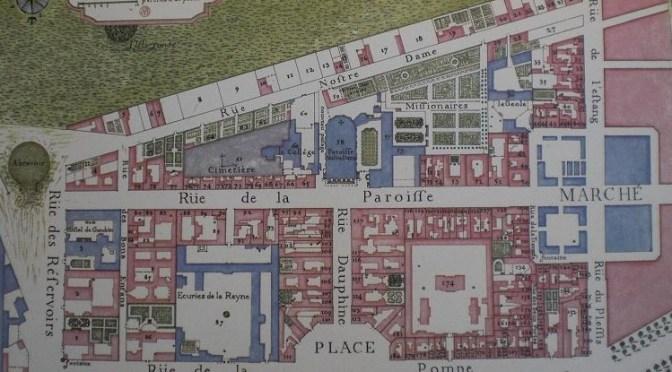 Reconstitution d'une rue de Versailles au XVIII e siècle : La rue des Deux-Portes en 1744.