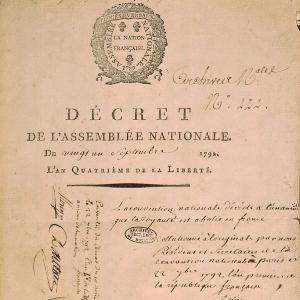 Décret du 21 septembre 1792 portant abolition de la royauté en France