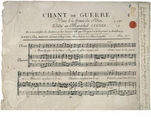Partition du Chant de Guerre pour l'Armée du Rhin identique à la première édition de l'imprimeur Philippe-Jacques Dennbach