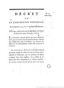 Décret du 28 septembre 1792 relatif à la Fête civique célébrée dans toute la République