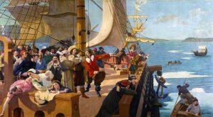 L'arrivée de Champlain à Québec, tableau de Henri Beau commandé en 1902 pour orner la salle du Conseil législatif. Source Wikipedia