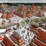 Artists's composite rendition of El Mirador, 300 B.C.-150 A.D. (National Geographic)