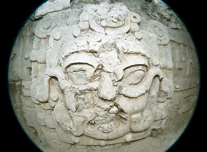 One of the stucco masks found in the substructure of the pyramid. El Diablo, El Zotz, Petén.