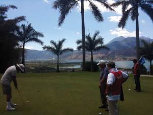 With two of its holes on the cliffs overlooking Lake Amatitlán, and with views of volcanoes Pacaya and Agua, the Mayan Golf Club is a beautiful and challenging course. (photo: JB)
