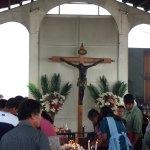 A replica of El Cristo Negro is located outside