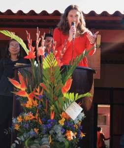 British Ambassador Julie Chappell addresses the assembly