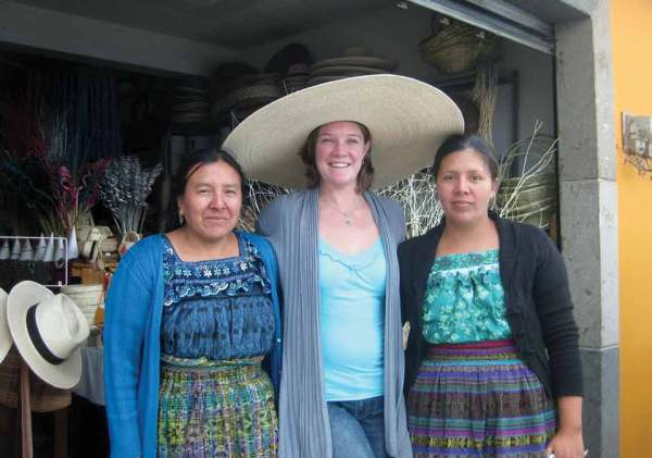 The author with two members of the Palm Weavers