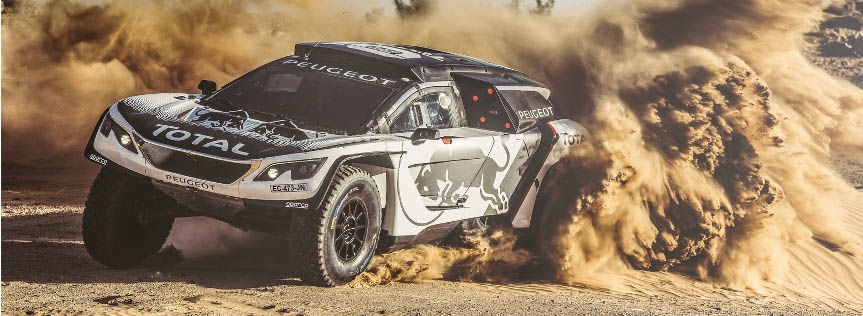 Stephane Peterhansel from Team Peugeot Total performs during a test run with the new Peugeot 3008 DKR  in Erfoud, Morocco on September 17, 2016