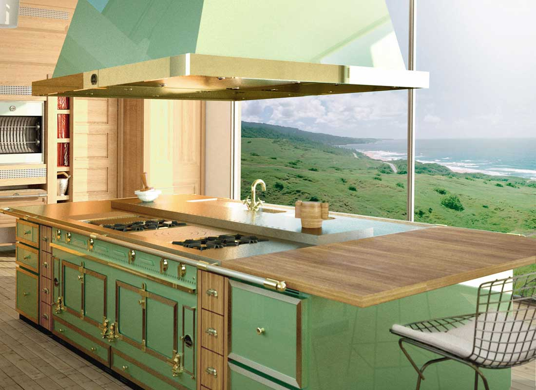 colored kitchen appliances wholesale sinks brights pastels and neutrals luxury colorful la cornue grand palais in green