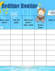 Bedtime routine chart also free printable customize online then print rh rewardcharts kids