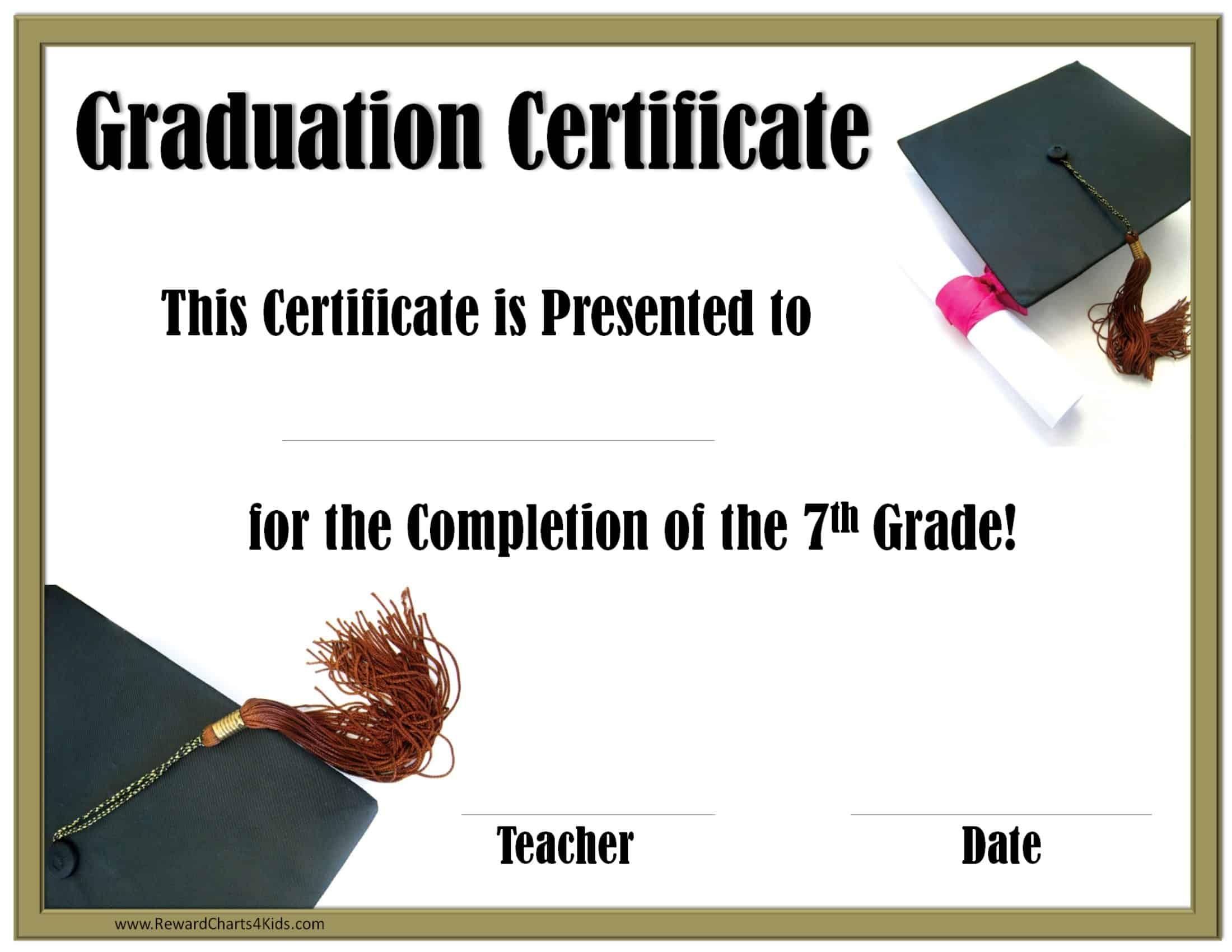 Graduation Printable Grade 5th Certificate