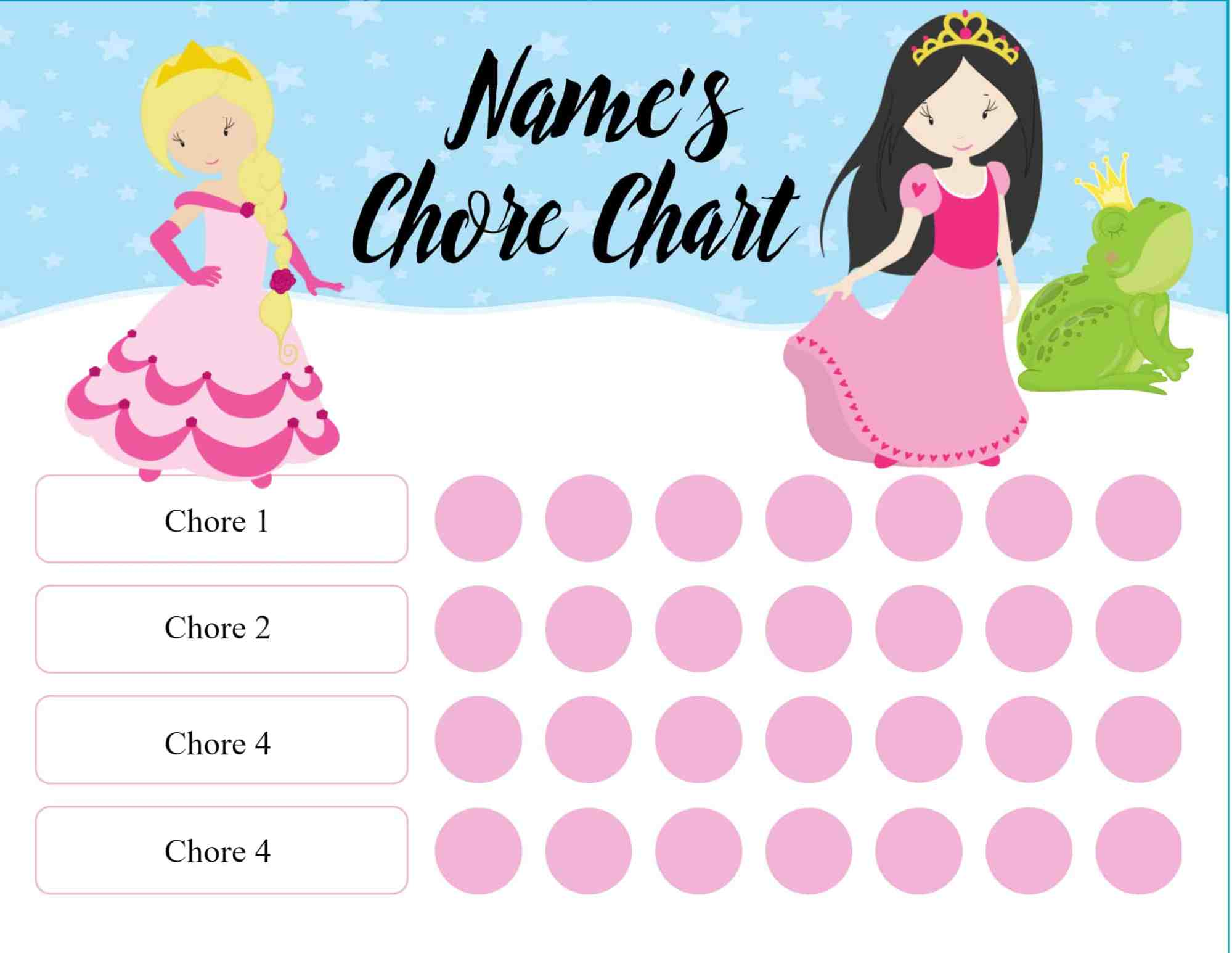 hight resolution of chore chart