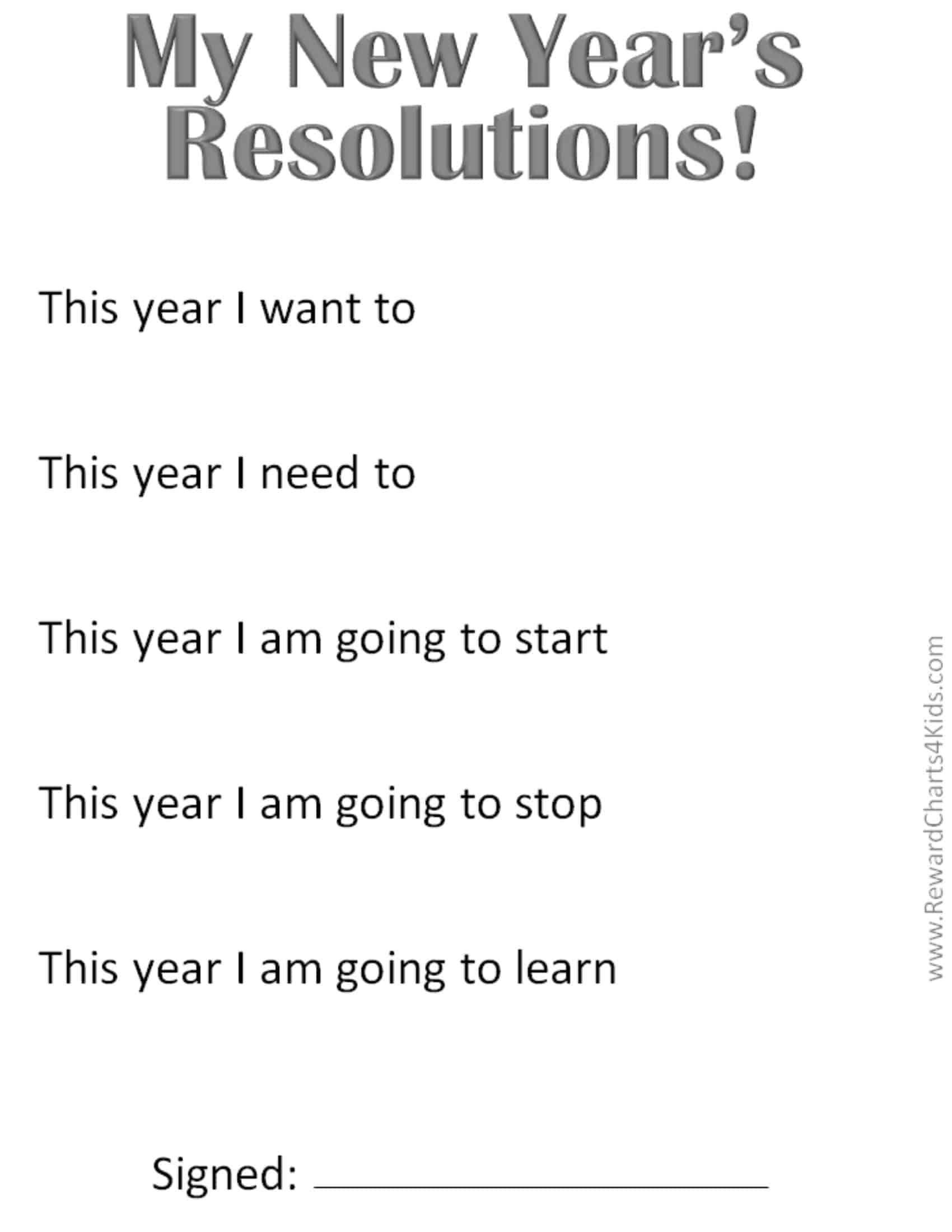 New Year S Resolutions For Kids With Free Printables