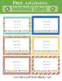√ School Notebook Labels Templates | Best 25+ Name tag