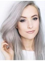 fashion long straight grey hair