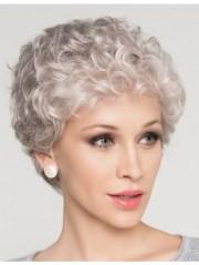 natural short curly grey hair wig