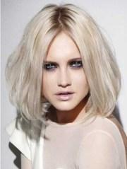 shoulder length white blonde bob