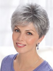 curly synthetic short grey hair