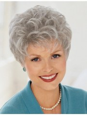 cropped grey curly hair wigs