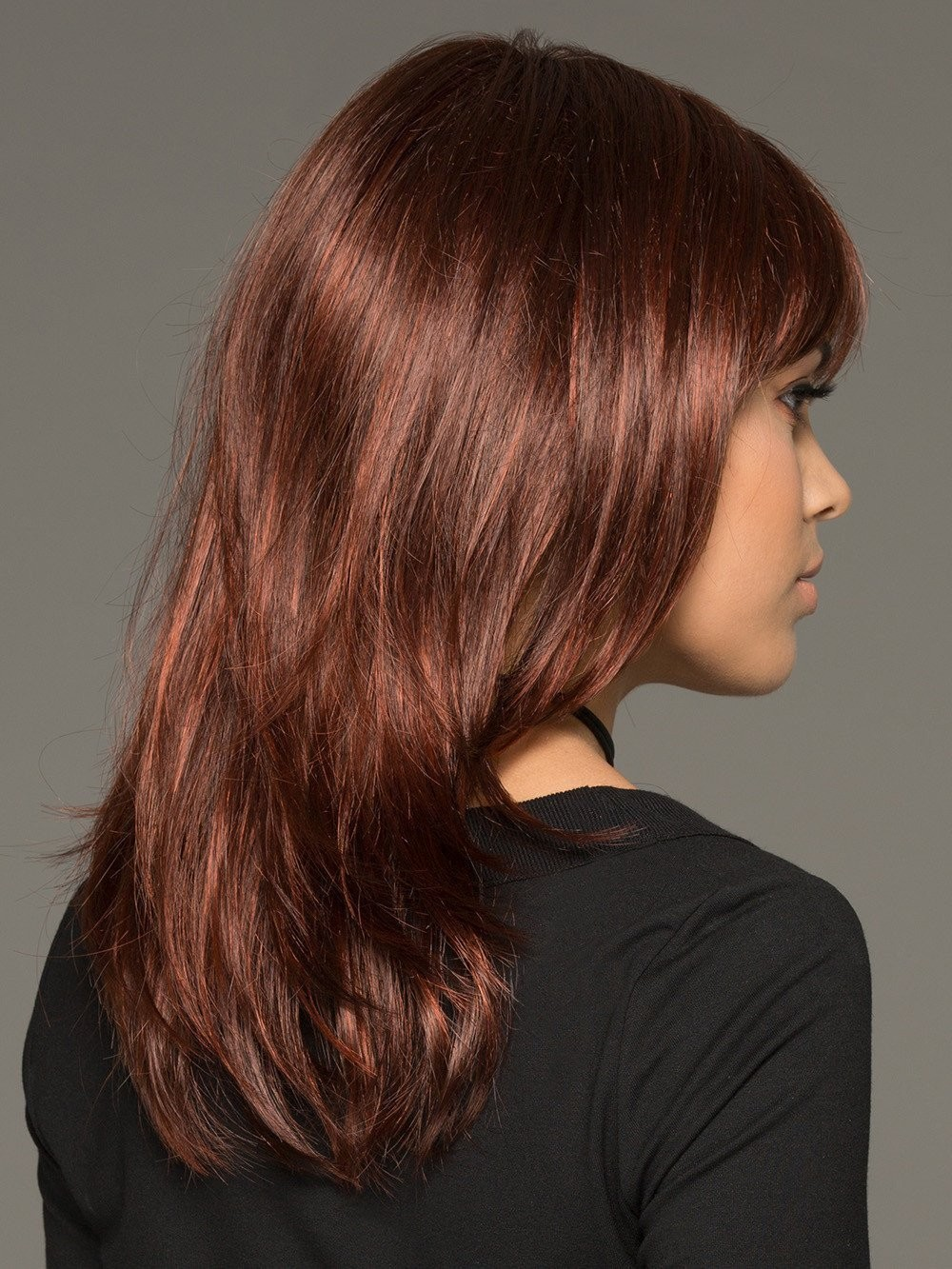 Medium Length Straight Wigs With Full Bang