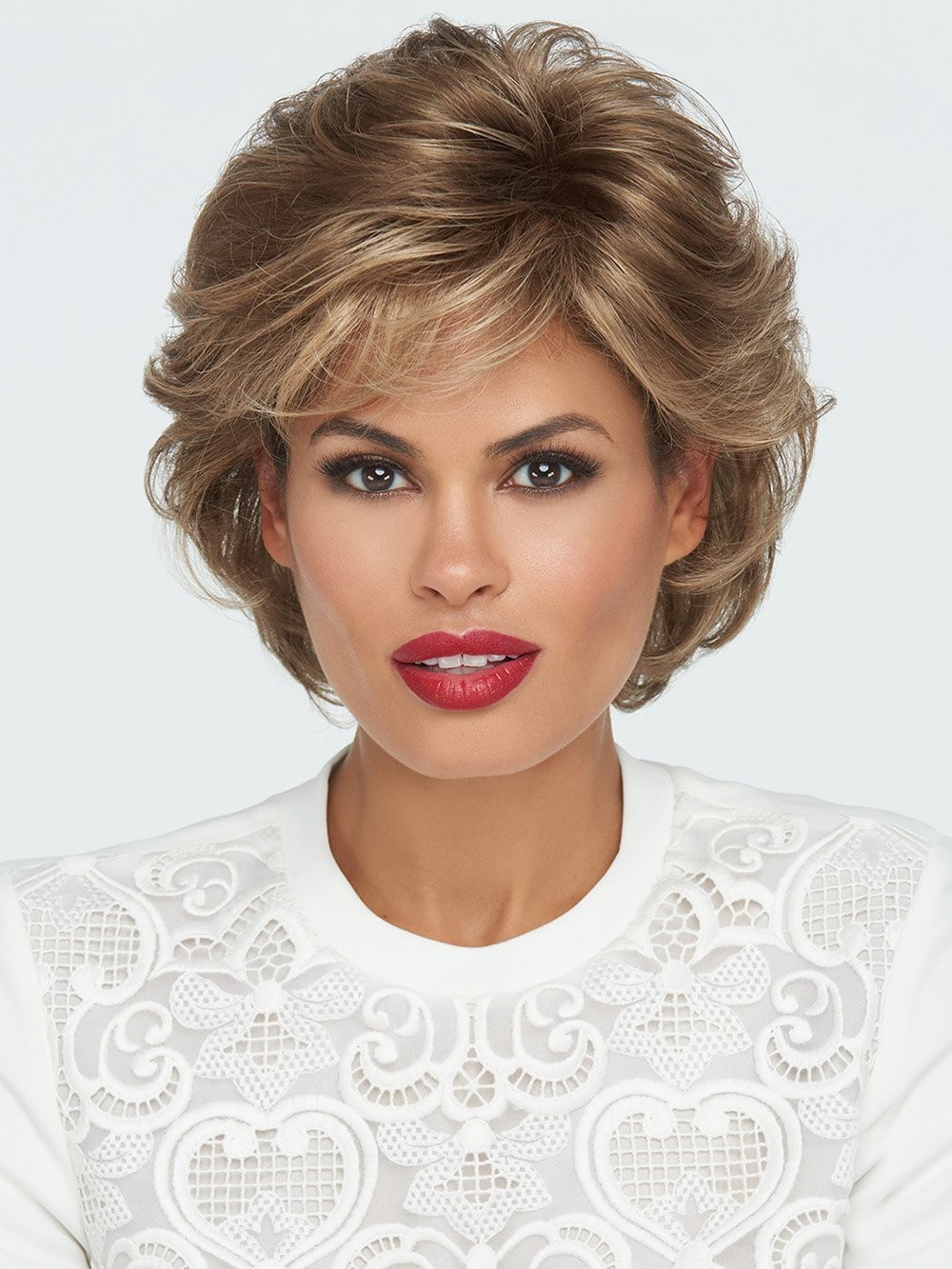 Short Textured Wavy Wigs with Bangs